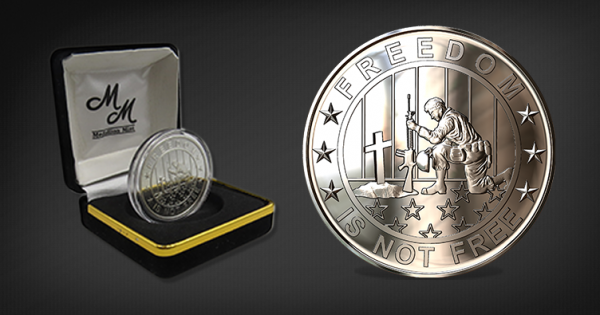 Freedom is not free, .999 fine silver coin with black box